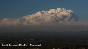 Timelapse of  smoke billowing from King fire in northern California