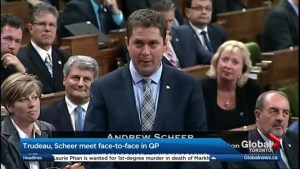 The first face-to-face for Andrew Scheer and Justin Trudeau