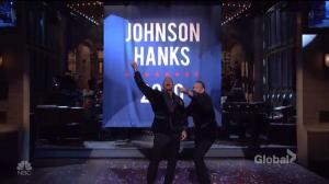 Dwayne Johnson, Tom Hanks reveal banner they're running for president in 2020 on SNL