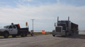 Semi blows through automated flagger on Highway 2 near Liberty, Sask.