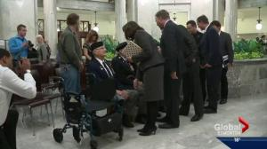 D-Day veterans and families honoured at Alberta Legislature