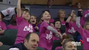 Young Calgary hockey fans show support for Pink Shirt Day