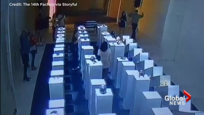Image result for Video captures woman taking picture at museum, knocking over $200K in art