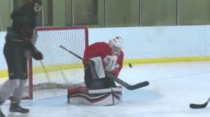 Global Edmonton MVP Braedan Stephen has skills between the pipes