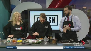 In the Global Edmonton kitchen with Crash Hotel