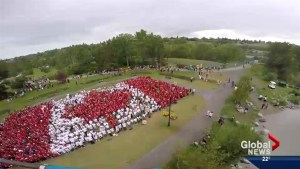3,000 shirts handed out for Calgary's Canada Day 'living flag'