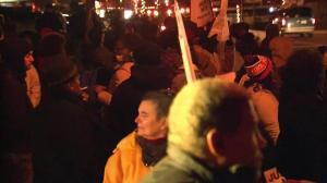Raw video: Protesters already gathering in Ferguson