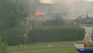 Fire crews battle two-alarm blaze in Bowness