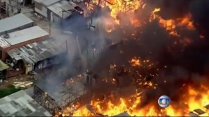 Favela fire in Brazil destroys nearly 100 homes