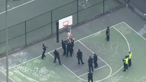 Footage of police trying to rescue man stuck in basketball net