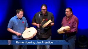 Remembering Jim Prentice: Members of the Siksika Nation perform Honour Song
