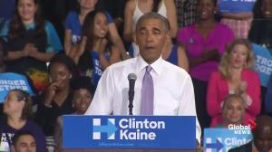 Obama claims audience started laughing when Trump said 'I really respect women'