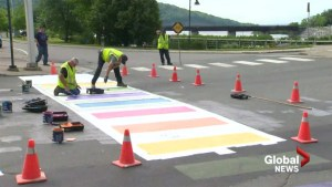 Rainbow crosswalk in Woodstock, N.B. repainted after being vandalized