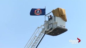 Volunteer firefighter sits in ladder for 50-hours for charity