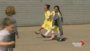 UK girl born without leg shows off new prosthetic blade to school mates