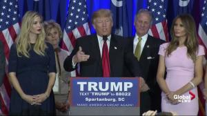 Donald Trump thanks supporters after winning South Carolina Primary