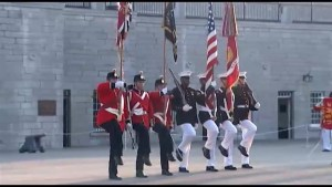 Fort Henry Guard prepare for visit with U.S. Marine Corps.