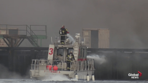 Raw video: Fire crews continue to fight Squamish dock fire