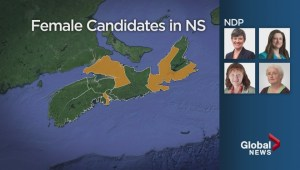 Nova Scotia has the lowest number of female candidates