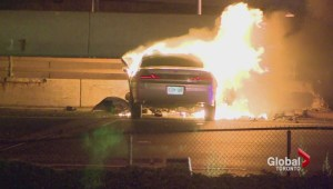 Car burst into flames in single-vehicle crash on the 427, 3 dead