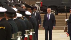 James Mattis greets Harjit Sajjan, Mexican Defence Minister with military parade