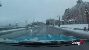 Timelapse: Drive through snowy Victoria, B.C.