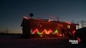 Stoney Nakoda Nation all lit up with lights to spread Christmas cheer