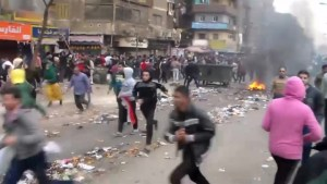 Footage of anti-government protesters clash with police in Egypt