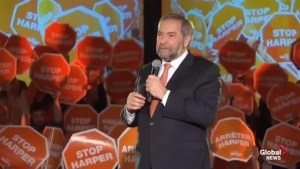 Mulcair says NDP are the only party that can defeat the Conservatives
