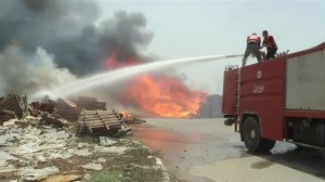 Israeli airstrike sparks massive fire at industrial district near crossing