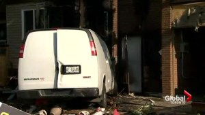 Stolen van plows into east end home and bursts into flames