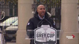 CFL Commissioner Jeffrey Orridge speaks at Grey Cup arrival ceremony in Toronto
