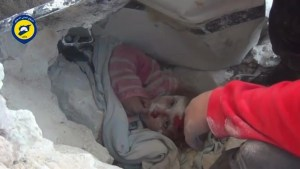 Video purports to show children rescued from rubble in Aleppo