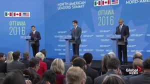 Trudeau announces Mexico, US and Canada forming North American climate change 'partnership'