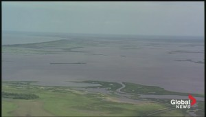 Aerial view of extensive flooding in Manitoba