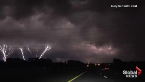Dash cam captures multiple bolts of lightning striking simultaneously in Oklahoma City