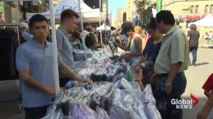 Sidewalk sale takes over Ste-Catherine Street