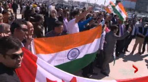Thousands come out to catch a glimpse of Indian Prime Minster Narendra Modi