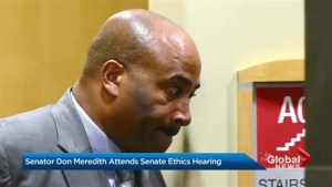 Disgraced senator attends senate ethics meeting
