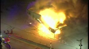 Little Caesars pizzeria goes up in flames during Ferguson protests