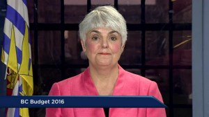 NDP finance critic Carole James reacts to B.C. Budget 2016