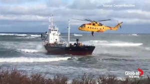 6 crew members rescued from run-aground tanker off Nova Scotia coast