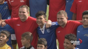 Calgary police and Syrian refugees meet on the soccer field