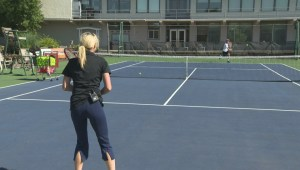 Shannon Cuciz hits the courts with Manitoba tennis pro Kevin Kylar