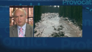 Energy and Mines Minister Bill Bennett on wet tailings pond