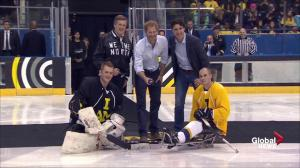 Prince Harry drops the puck on sledge hockey exhibition for Invictus Games countdown