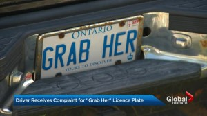Ontario man defends 'GRAB HER' licence plates after complaint lodged