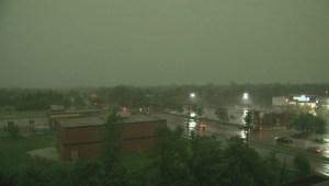 Lightning strike during Manitoba storm