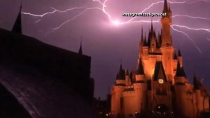 Awesome footage of lightning over Cinderella's Castle at Disney World
