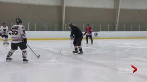 Moncton-area firefighters, RCMP promise to 'play nice' in #BeccaToldMeTo hockey game fundraiser